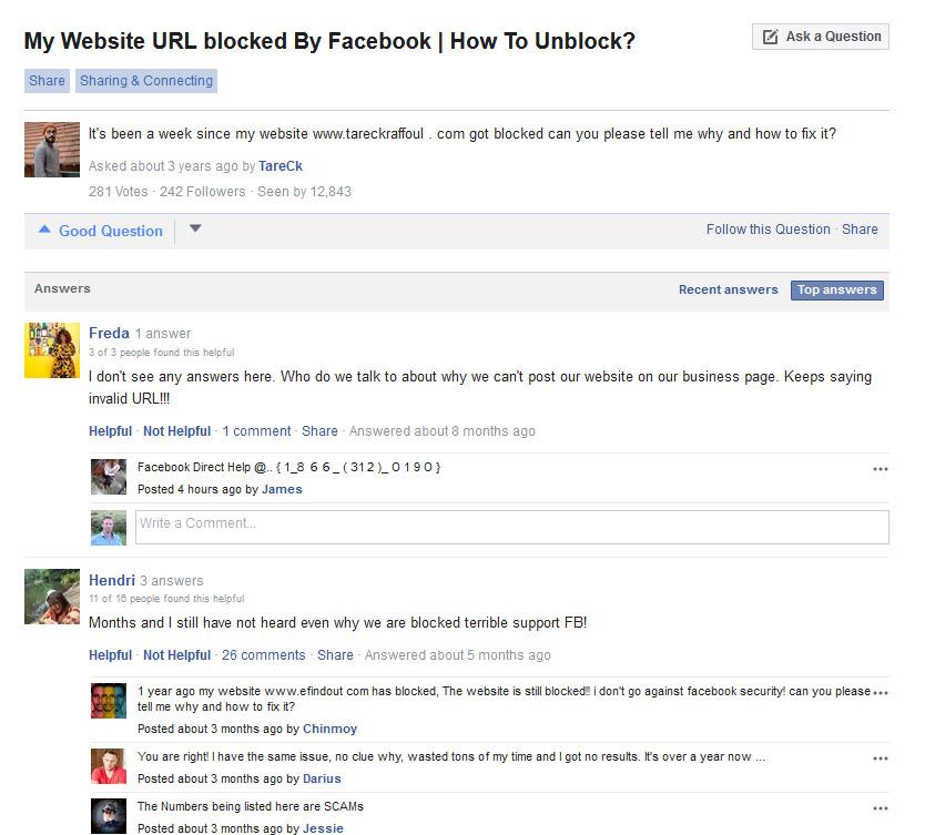 Facebook help center URL blocked