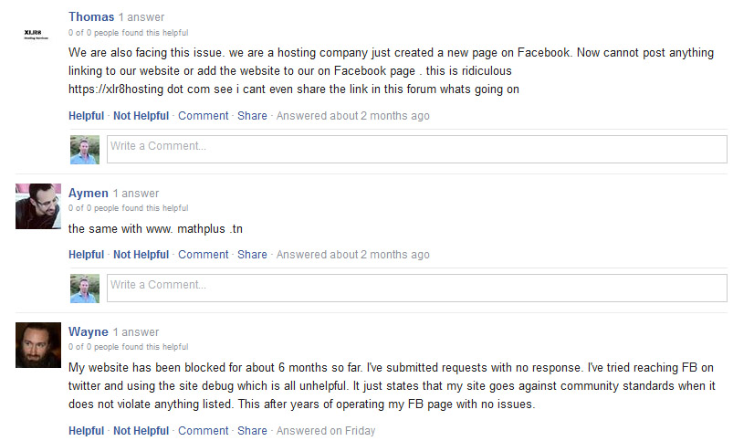 Facebook user blocked websites
