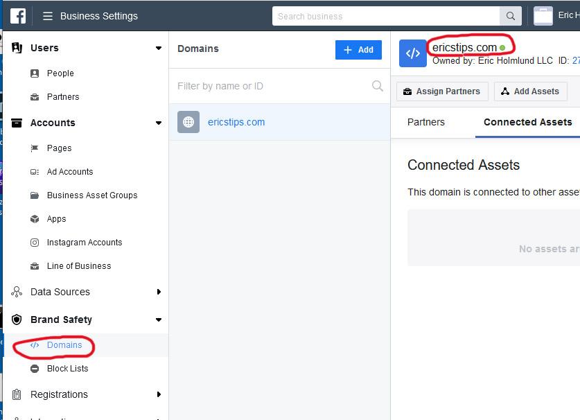 Facebook Verify Domain