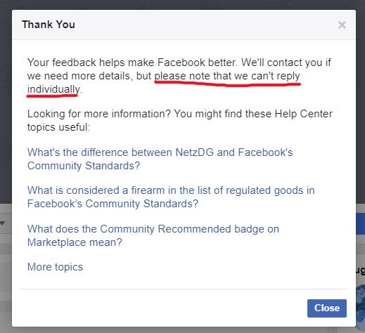 Facebook Feedback Form